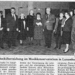 1993: Schecküberreichung im Musikkonservatorium