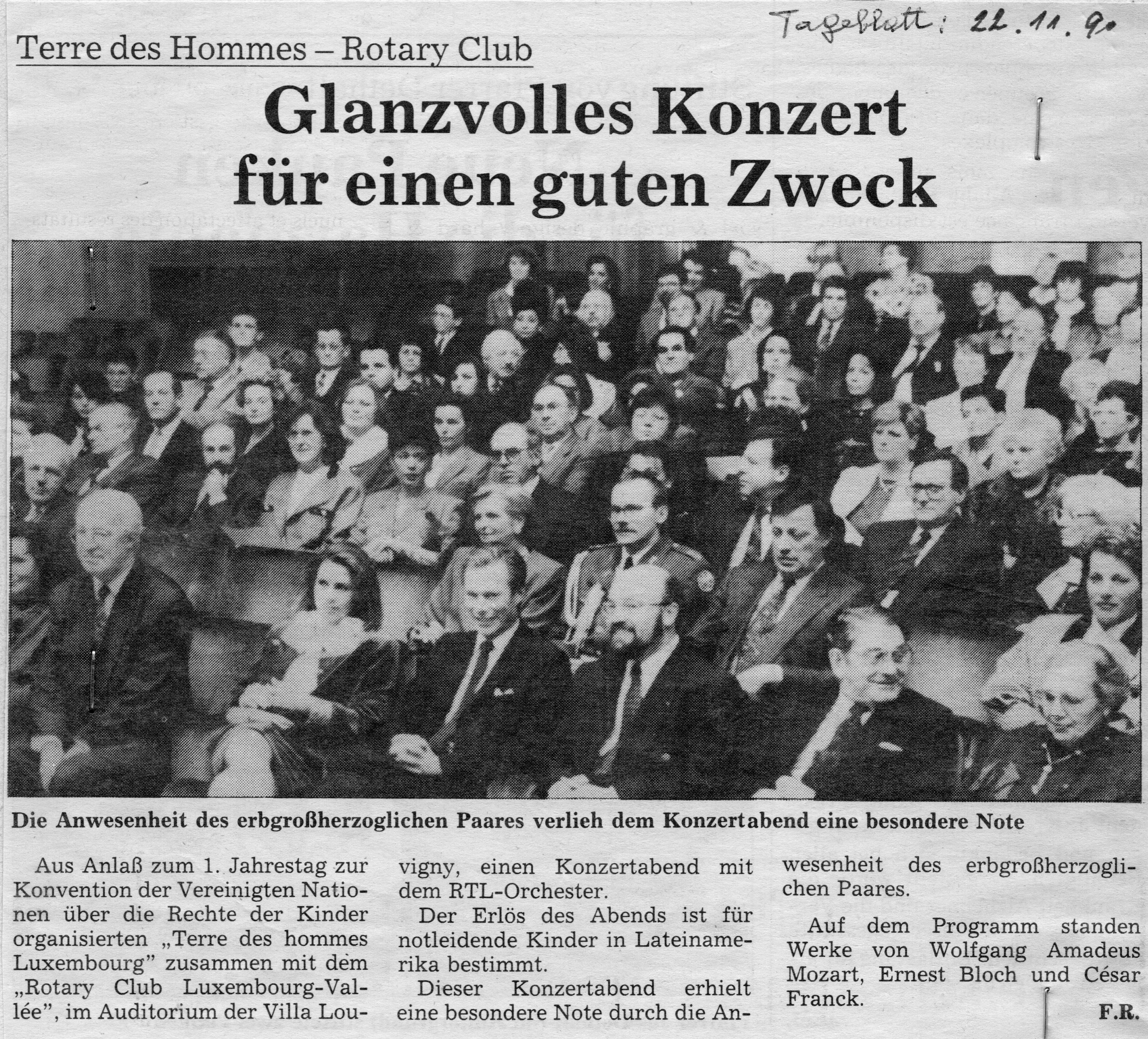 1990: Concert im Auditorium der Villa Louvigny