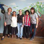 2014: Visite Wiñarina (Quito, Équateur) (à g.), Monique Berscheid (présidente TdHL), (milieu) Angéline Balland (gestionnaire projets), (à d.) Sarah Rassel (volontaire)