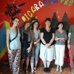 Visite Inhijambia; (g. à d.) Sabrina Centrone (volontaire), Monique Berscheid, Angélique Brosset, Sylvie Braquet, Marie-Laure Mir, Christoph Rosenberg
