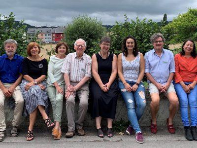 (g.à d.) Lucien Berscheid (trésorier), Monique Berscheid (présidente), Marie-Laure Mir (vice-présidente), Paul Hansen (membre), Sylvie Braquet (membre), Lynn Hagen (membre), Roland Jaeger (secrétaire), Terioska Guillen (membre)